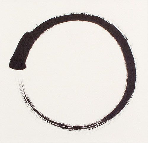 Enso - Buddhist Circle Calligraphy - Wall Scroll close up view
