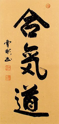 Aikido Japanese Martial Arts Wall Scroll close up view