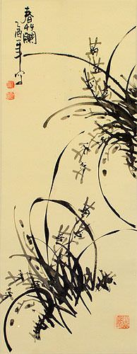 Classic Chinese Orchid Wall Scroll close up view