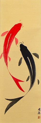 Yin Yang Koi Fish Wall Scroll close up view