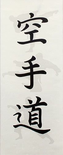 Shadow Karate-Do Japanese Kanji Wall Scroll close up view
