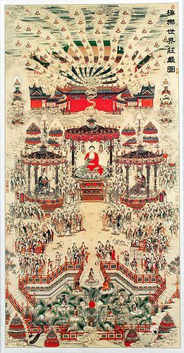 Buddhist Paradise Altar Print - Wall Scroll close up view