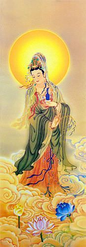 Guanyin Buddha Print - Wall Scroll close up view