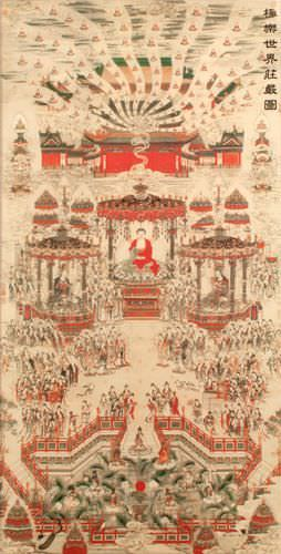 Buddhist Paradise Altar Print - Large Wall Scroll close up view