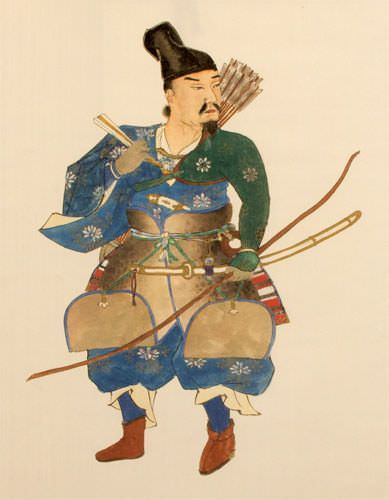 The Noble Archer Warrior - Japanese Print Repro - Large Wall Scroll close up view