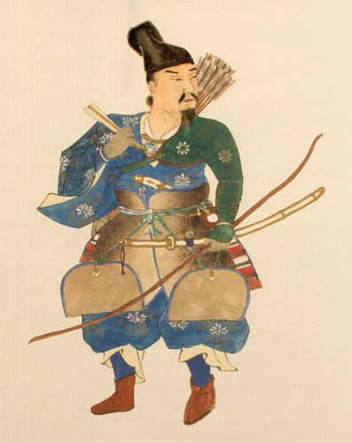 Japanese Samurai Archer Warrior - Large Wall Scroll close up view