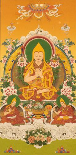 Tibetan Buddha Print - Yellow Wall Scroll close up view