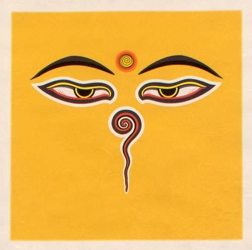 Eyes of Buddha - Print Wall Scroll close up view