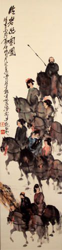 Tang Dynasty Horses and Riders Wall Scroll close up view