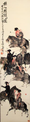 Riders on Horseback - Horses Wall Scroll close up view