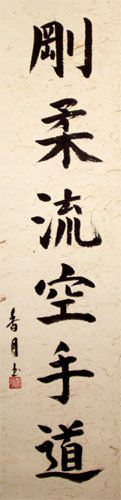 Goju-Ryu Karate-Do Kanji Calligraphy - Japanese Scroll close up view