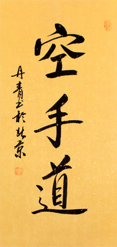 Karate-Do Japanese Kanji Character Scroll close up view