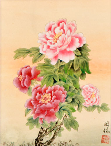 Peony Flowers Wall Scroll close up view