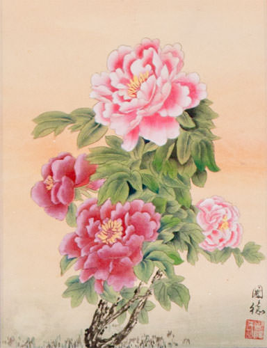 Peony Flower Wall Scroll close up view