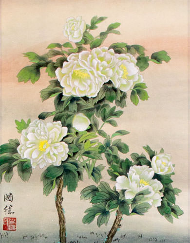 Chinese White Flower Wall Scroll close up view