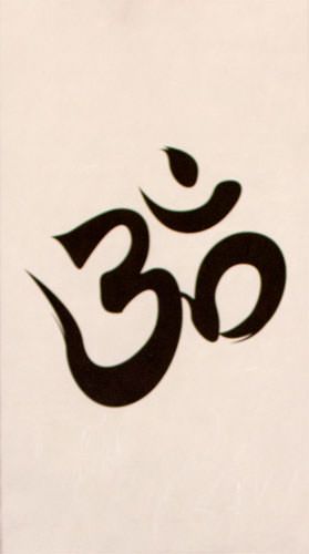 Om Symbol - Buddhist / Hindu Wall Scroll close up view