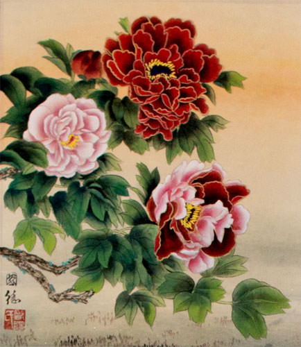 Elegant Peony Flowers - Chinese Scroll close up view