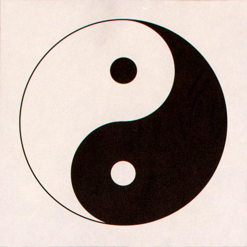 Yin Yang Symbol - Wall Scroll close up view