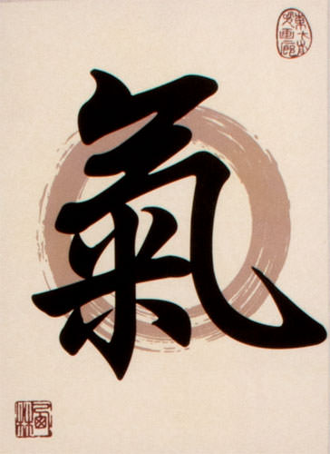 Spiritual Energy in Chinese and Japanese Kanji - Print Scroll close up view