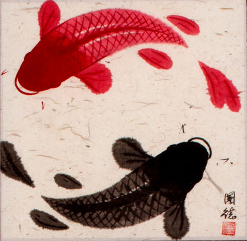 Antique-Style Yin Yang Fish Silk Wall Scroll close up view