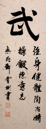 WARRIOR SPIRIT Chinese Character / Japanese Kanji Wall Scroll close up view