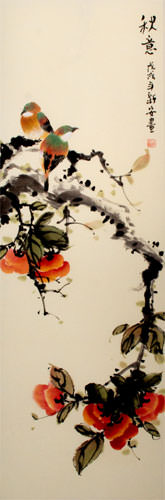 Autumn Feeling - Bird and Flower Wall Scroll close up view