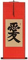 Wall Scroll with Bright Red Silk
