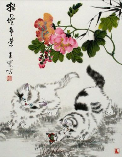 Chinese Kittens - Asian Wall Scroll close up view