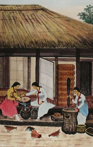 North Korean Village Ladies Handmade Wall Scroll close up view