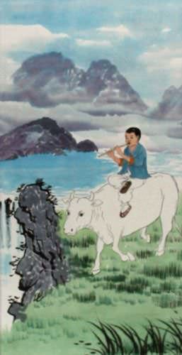 North Korean Cowboy Wall Scroll close up view