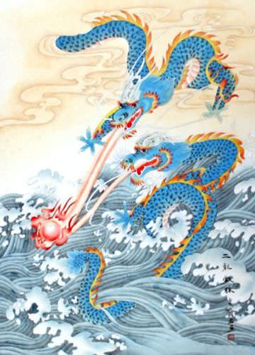Two Dragons Pearl Fireball Revelry - Wall Scroll close up view