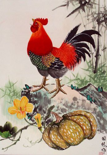 Asian Farmyard Rooster Wall Scroll close up view