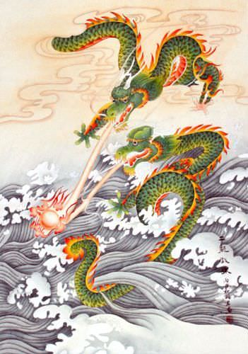 Two Dragons Pearl Fireball Revelry - Asian Wall Scroll close up view