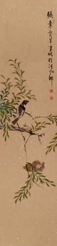 Birds on a Branch - Wall Scroll close up view