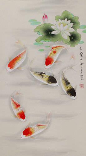 Chinese Koi Fish and Lotus Pond Wall Scroll close up view