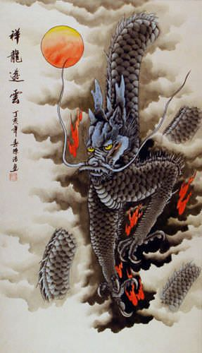 Good Luck Dragon Flying in the Clouds Wall Scroll - Asian ...