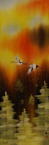 Cranes Taking Flight in Autumn Wall Scroll close up view