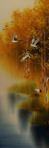 Autumn Rhyme - Colorful Asian Cranes Wall Scroll close up view