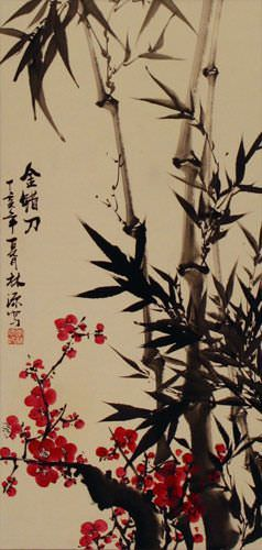 Plum Blossom and Black Ink Bamboo Chinese Wall Scroll close up view
