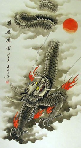Chinese Dragon of the Clouds Wall Scroll close up view