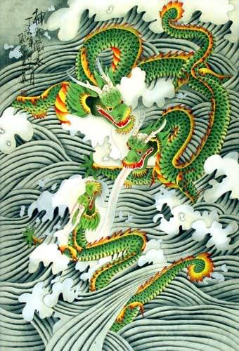 Dragons Play in the Sea - Chinese Silk Wall Scroll close up view