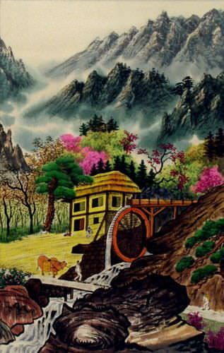 North Korean Water Wheel Village Wall Scroll close up view