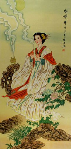 Diao Chan - Famous Beauty of Ancient China - Wall Scroll close up view