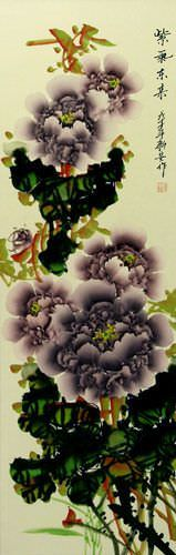 Purple Peony Flower Oriental Wall Scroll close up view
