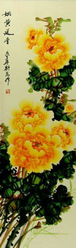 Yellow Peony Flower - Chinese Wall Scroll close up view