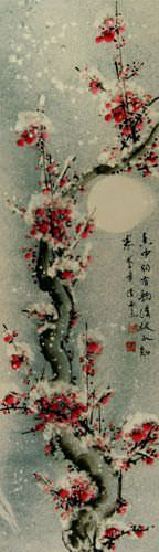 Chinese Snow Plum Blossom Wall Scroll close up view