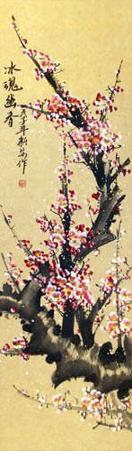 Pink Chinese Plum Blossom Wall Scroll close up view