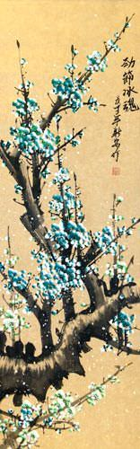 Colorful Aqua-Blue Plum Blossom Wall Scroll close up view