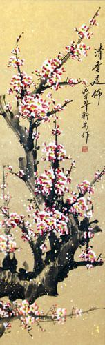 Pink Plum Blossom Asian Wall Scroll close up view