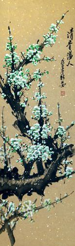 Green Plum Blossom Wall Scroll close up view